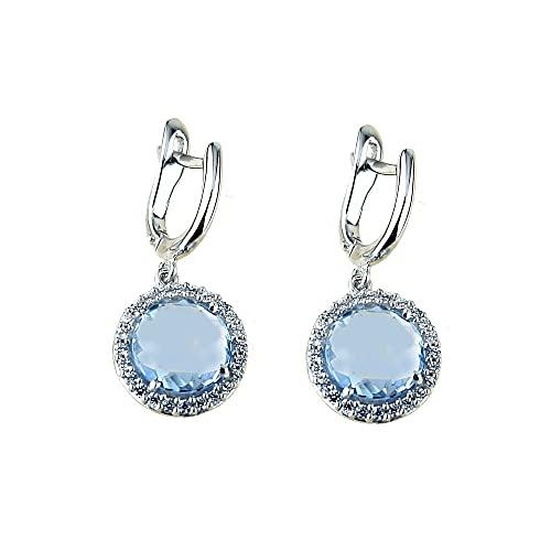 Pendientes colgantes oro blanco 18k con piedras azules para mujer