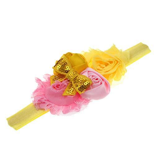 GDYX Accessoires de Cheveux Bande de Cheveux Rose Mousseline de Soie Fleur Dentelle Strass élastique Bande de Cheveux Accessoires de Cheveux pour Enfants Taille Correspond à Tous