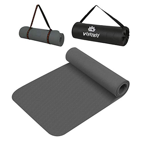 VIFITKIT Extra Thick Yoga and Exercise Mat with Carrying Strap and Bag, Anti Skid Yoga mat for Gym Workout and Flooring Exercise for Women and Men (Grey, 8mm)