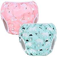 Luxja Pañal de Natación para bebes Bañador Reutilizable de Nadar de Bebé Pañal lavable para Bebé (0-3 años), Flamenco rosado + oso polar