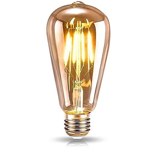 Lampadina Vintage Edison E27, DASIAUTOEM Lampadina Vintage LED Edison Lampadina Retrò 4W 220V Illuminazione Vintage Retro Stile Lampadine Decorativo per Casa Caffetteria Ristorante Bar, Luce Calda