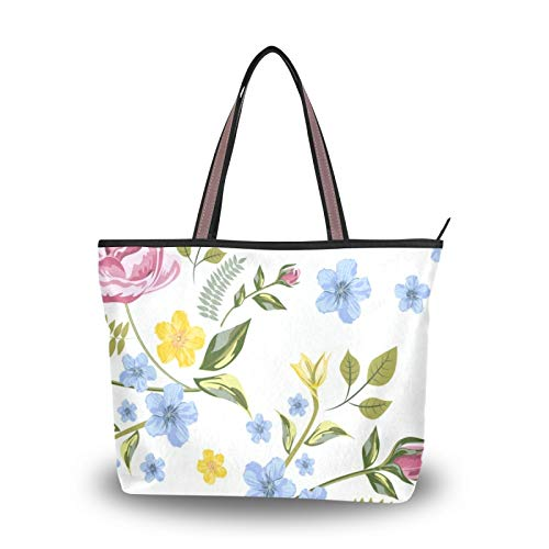 Shoulder Bags Tote Bag for Women Girls Ladies Student Light Weight Strap Vintage Floral Flowers Rose Country Garden Purse Shopping Handbags