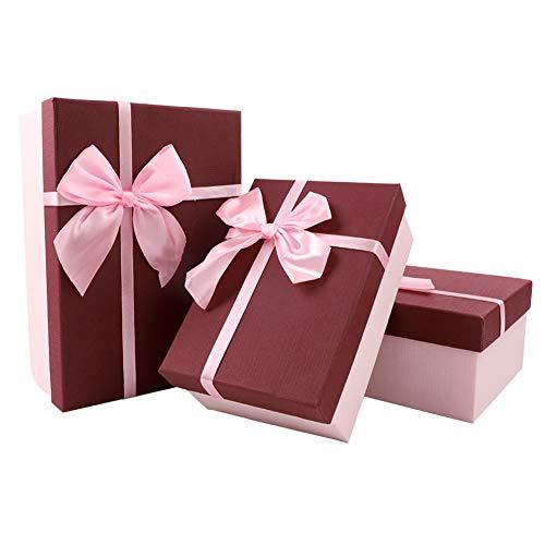 3 piezas Cajas de regalo con tapa Cajas de 3 tamaños medianas para regalos Caja con Bowknot Caja de presentación Cajas de regalo rectangular Caja de regalo de cartón para fiestas festivales Embalaje