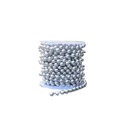 HEALLILY - Ghirlanda di perline per albero di Natale, con perle finte per matrimoni, Natale e vacanze fai da te (argento 5 m)