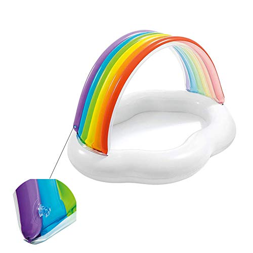 Regenbogen-Planschbecken, aufblasbares Kinder-Planschbecken 142 * 119 * 84 cm, geeignet für Kinder unter 4 Jahren
