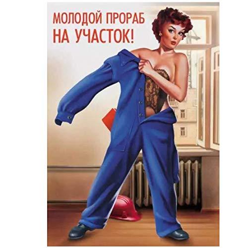 Shmjql Tattoo Arbeitskleidung Sexy Cool UDSSR Sowjetische Vintage Leinwand Malerei Poster Wand Home Bar Home Decor Geschenk-20x28in No Frame