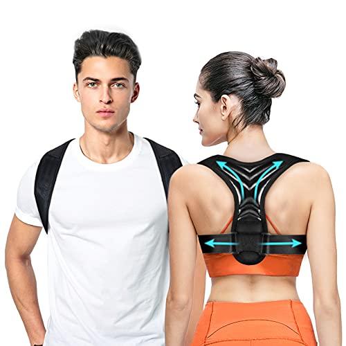 Corrector de Postura para Mujeres y Hombres, Corrector de Postura Ajustable - Enderezador de Espalda para Soportar la Clavícula y Aliviar el Dolor en el Cuello, la Espalda y los Hombros