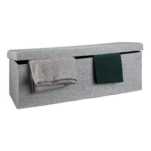 Relaxdays Faltbare Sitzbank XL HBT 38 x 114 x 38 cm stabiler Sitzcube mit praktischer Fußablage als Sitzwürfel aus Leinen als Aufbewahrungsbox mit Stauraum und Deckel zum Abnehmen für Wohnraum, grau - 3