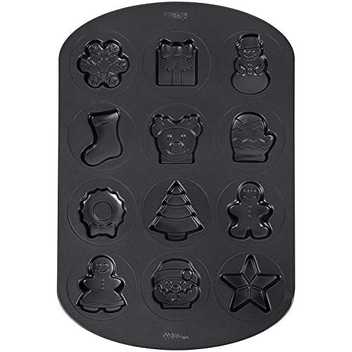 Wilton Non-Stick Holiday Shapes Christmas Cookie Pan, 12-Cavity