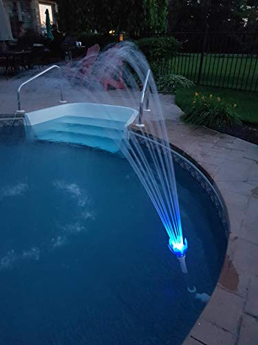 Magic Pool Fountain Deluxe Package. Water Powered! Includes Multi-Colored changing Bulb, Blue & Green LED Bulbs. Each lasts for 2000 hours! Installs in minutes. No special tools required. No Batteries