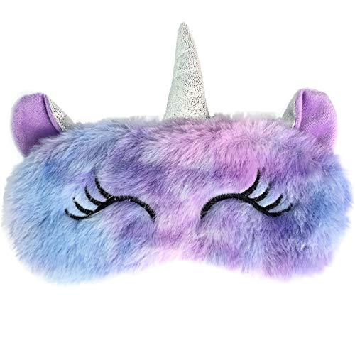 Ulife Mall Nette 3D Einhorn Flauschige Tier Augenmaske für Schlaf Reisen Atmungsaktiv Eyeshade Augenabdeckung Augenblende Schlafmaske Kinder Erwachsene - Violett