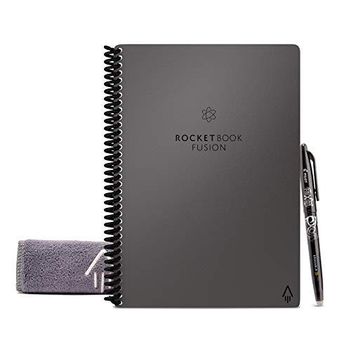 Rocketbook Fusion - Taccuino Digitale, Agenda, Quaderno, Riutilizzabile, Grigio A5, Copertina Rigida, Smart Notebook con Penna Pilot Frixion Panno Microfibra, Compatibile con Sistemi Cloud