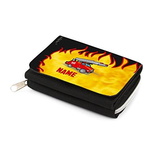 Striefchen® Kindergeldbörse mit Namen - Feuerwehr - in schwarz mit Geschenkverpackung