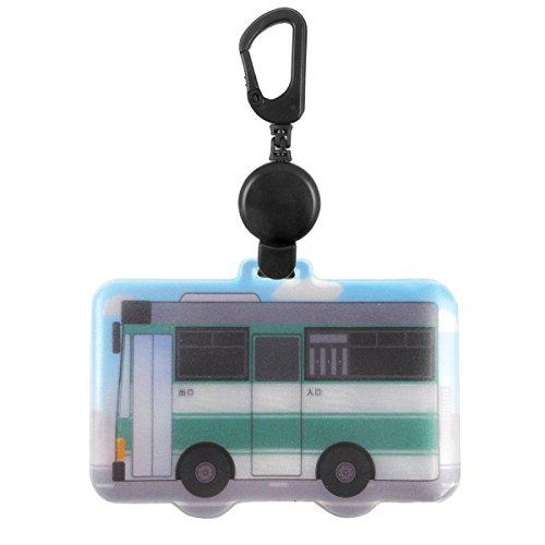 ホークアイ 反射する 電車形 パスケース 80cm伸びるリール付き (バス(グリーン))