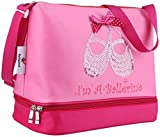 Pink Princess Ballet Dance Tote Bag for Little Girls Ballerina Kid Toddler Teen Dancer with Double Layer Compartment and Adjustable Strap for Tutu Dress Shoes Towel Slippers Ballet Accessories