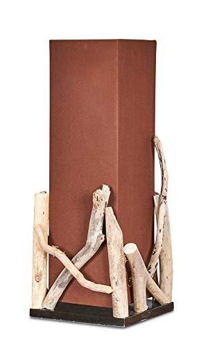 levandeo Lampe Tischlampe H50cm Braun Holz Holzlampe Tischleuchte Treibholz Natur Unikat Baumwolle