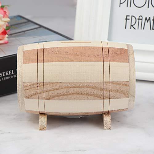 Hucha de madera de 1 unidad Hucha Caja de dinero seguro para ahorrar vino barril talla madera hecho a mano