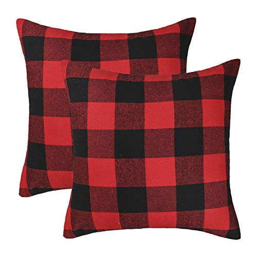 4TH Emotion Set of 2 Christmas Buffalo Check Plaid Throw Pillow Covers Cushion Case Polyester for Farmhouse Home Decor Red and Black, 16 x 16 Inches