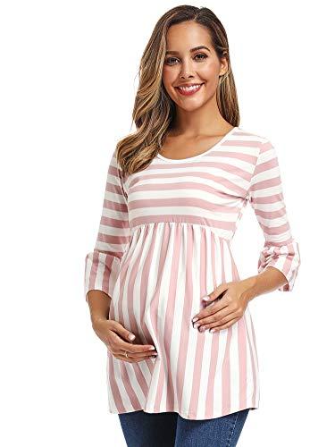 Love2Mi Damen Schwanger Oberteile 3/4 Ärmel Umstandsshirts Streifen Lose Umstandstops Mama Kleidung, Rosa Streifen, L