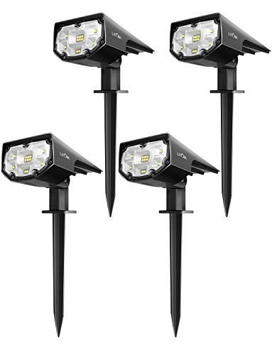 LITOM 12 LEDs Solar Landscape Spotlights, IP67 Waterproof Solar Powered Wall Lights 2-in-1 Wireless...
