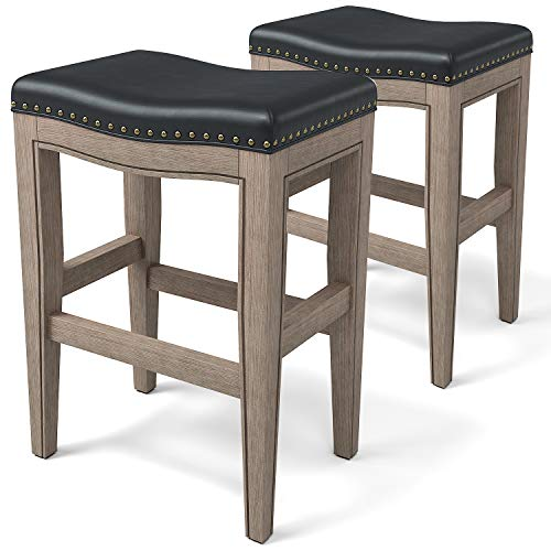 """Furgle Set of 2 Saddle Seat Stools 29"""" Barstool Wood Vintage Counter Chairs Backless Faux Leather Counter Stool for Kitchen Dining Pub and Bistro"""