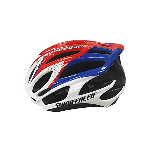 Unisex Adult Bike Helmets, Adjustable Size Savant Road Bicycle Helmet Safety Riding Helmet Specialized Road Bike Helmet Accessories for Men Women Riding Cycling Mountain Biking (White Blue Red)