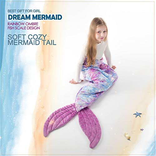 Mermaid Blanket for Little Girls, All Seasons Mermaid Tails Sleeping Bags Multicolor Plush Soft Premium Microfiber Rainbow Fish Scale Design Snuggle Blanket