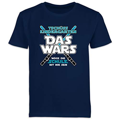 Einschulung und Schulanfang Geschenk - Das Wars Kindergarten Blau - 128 (7/8 Jahre) - Navy Blau - abschieds t Shirt Kindergarten - F130K Schulanfang - Schulanfang Jungen T-Shirt Kinder