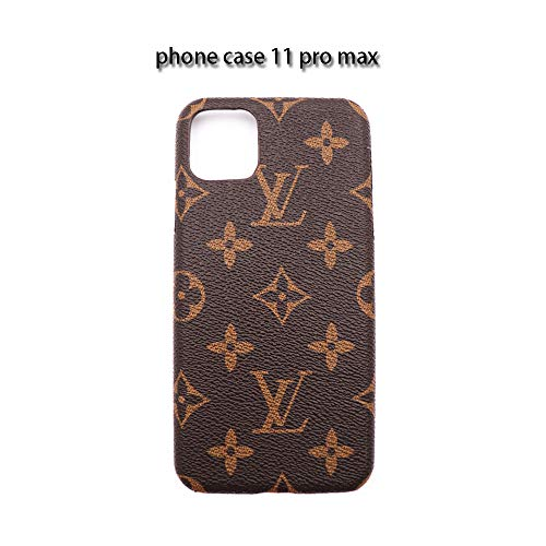 Case for iPhone 11 Pro max, Luxury Leather Phone Case Letter Mobile Phone Protective Cover for iPhone 11 Pro max 6.5 in Brown