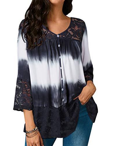 Style Dome Bluse Damen Casual Spitzen Lace Tunika Batik Loose V-Ausschnitt Halbarm Shirt Tops Dunkelblau-F49879 XXL