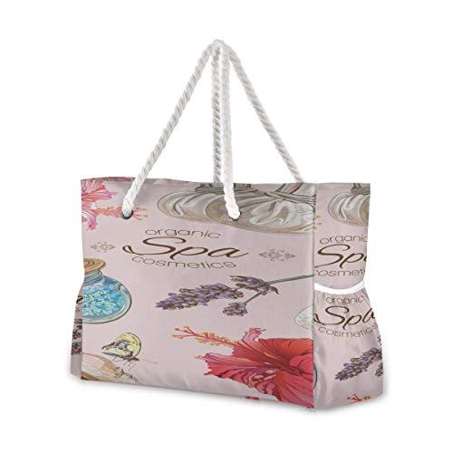 Ladies Beach Tote Cartoon Süße Hautpflegeprodukte Beauty Girl Strandtasche Tragbare Reisetasche 20,5 x 7,3 x 15 Zoll Reißverschluss mit Baumwollgriff für Picknicks Reiseurlaub