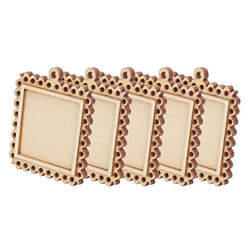 Bandejas de madera con base de concavidad, base en blanco con relieve, pequeña base de madera para marco de fotos de 5 piezas, apariencia simple para aniversario, día de San Valentín,