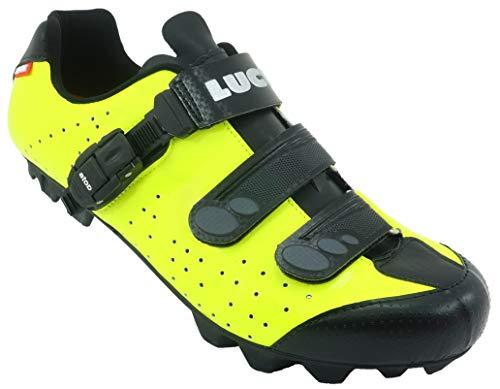 LUCK Zapatillas de Ciclismo MTB ODÍN con Suela de Carbono y Cierre milimétrico de precisión. (43 EU, Amarillo)