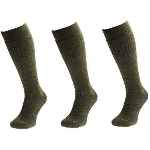 Comodo Calcetines de Caza de Merino Hombres y Mujeres | 3 Pares de Calcetines de Caza de Lana de Merino | SMD - Khaki | Tamaño: 43-46
