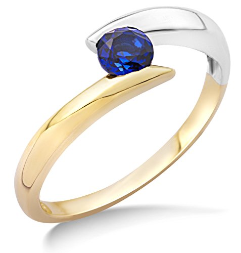 Miore Ring Women Solitaire Bicolor -Yellow Gold and White Gold 9 Kt / 375 Blue Sapphire