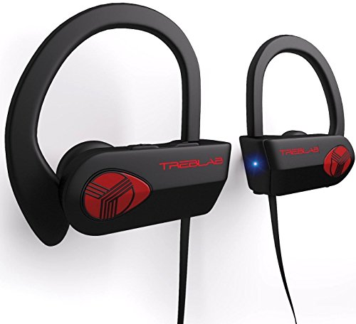 TREBLAB XR500 - Ultimate Cordless Bluetooth Running Headphones. Best Sport Wireless Earbuds for Gym. Noise Canceling Secure-Fit IPX7 Wireless Waterproof Headphones Mic. Workout Earphones 2019 Upgrade