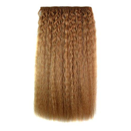 Pelucas de reemplazo de cabello 50 cm Natural Light Brown Pedazo de pelo for Maíz Hot Five Card Peluca Pedazo Natural Realista Seamless Curl Extensión del pelo duradero, reutilizable