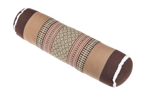 Handelsturm Thaikissen Nackenrolle 50x13 mit Füllung aus Kapok Yoga Bolster Yogakissen Rolle Feste Kissenrolle (Thaimuster braun-beige)
