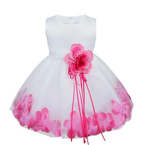 iiniim Bébé Fille Robe de Cérémonie Baptême Courte Robe de Danse Classique sans Manches 3D Pétales Broche Robe de Princesse Fêtê Taille Haute 3-24 Mois Rose Vif 12-18 Mois