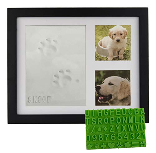 Ultimate Dog or Cat Pet Pawprint Keepsake Kit & Picture Frame - Premium Wooden Photo Frame, Clay Mold for Paw Print & Free Bonus Stencil. Makes a Personalized Gift for Pet Lovers and Memorials (Black)