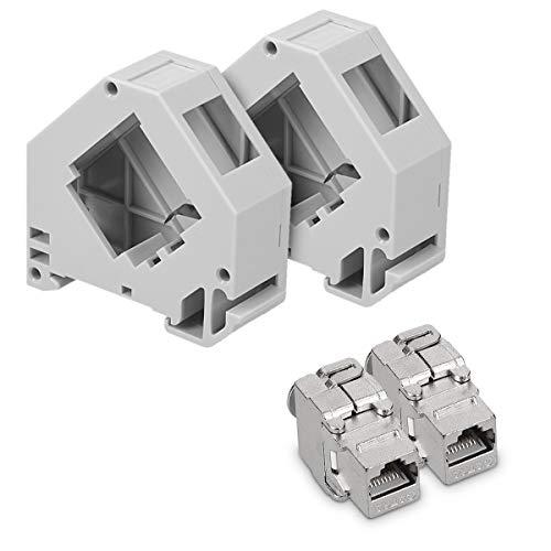 kwmobile Keystone Modul und Hutschienenadapter Set - passt auf genormte Hutschiene - 2X CAT 6A Module 2X Halter - RJ45 Buchse geschirmt - werkzeuglos