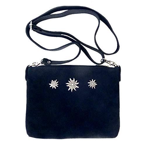 Trachtentasche Dirndltasche kleine Umhängetasche Clutch Wild-Leder dunkelblau