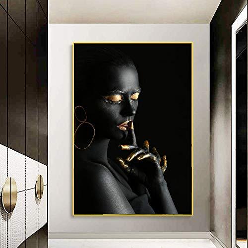 Carteles e Impresiones artísticos en Lienzo de Mujer Negra con Joyas Doradas, Pinturas en Lienzo africanas Sexis, Cuadro artístico de Pared para Sala de Estar 60x90cm