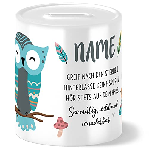 OWLBOOK Boho Eule Kinder Spardose Personalisiert mit Namen Geschenke Geschenkideen für Mädchen zum Geburtstag Weihnachten Einschulung Taufe Geburt Sparschwein