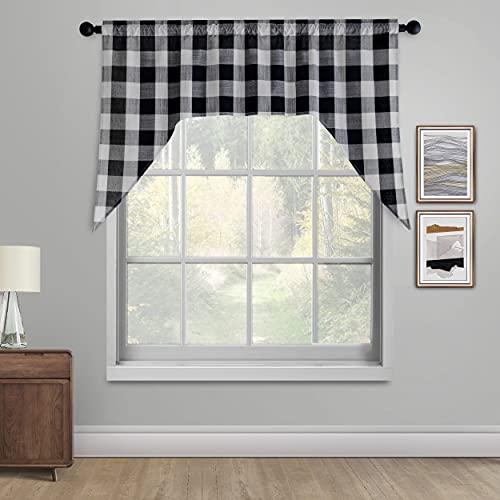 Creativesfun Swags for Kitchen Window Curtain Valance Buffalo Check Swag Classic Country Farmhouse Window Curtain (Swag 54 X36 -Inch, Black & Cream)
