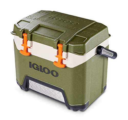 Igloo BMX 25 Quart Cooler with Cool Riser Technology, Fish Ruler, and Tie-Down Points - 11.29 Pounds - Green and Orange