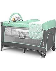Flower łóżeczko turystyczne dla niemowląt z wejściem bocznym, przewijak dwie wysokości materaca, łuk zabawkowy z figurkami do zabawy, kółka, torba do noszenia