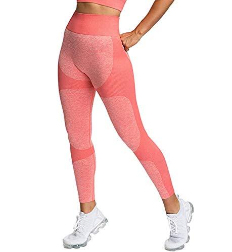 HUAJI Frauen Fitness Jogging Yoga Nahtlose Gamaschen Gymnastik-Mädchen Leggins Hohe Taillen-Push-Up-Sport-Training Laufen Gymwear,Rosa,M