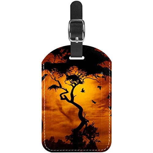 Luggage Tags Sunset Giraffes with Trees Leather Travel Suitcase Labels 1 Packs