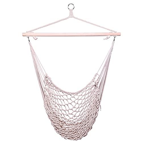 paritariny Silla de salón, Cuerda Colgante de algodón Aire/Silla de Aire sillón Beige Chaise Lounge (Color : White)